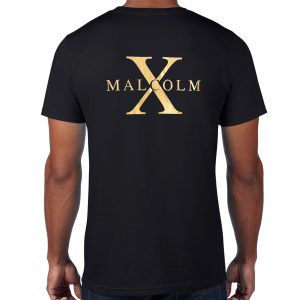 Malcolm X, Black T-shirt with Gold Vinyl